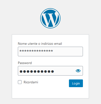 schermata login wordpress